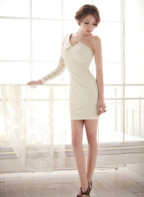 Купить - Белое элегантное платье на одно плечо НН-151235