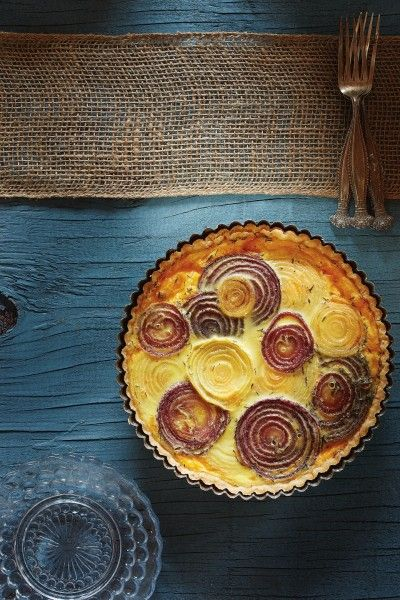 Roasted Onion Quiche (food styling by Melissa McClelland, photography and prop Styling by Clarissa Westmeyer)