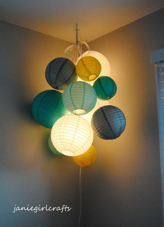 Bright, Fun, and Whimsical Paper Lantern Balloon Mobiles; great for any nursery, classroom, or birthday party    Lantern Pictured: White, Teal,