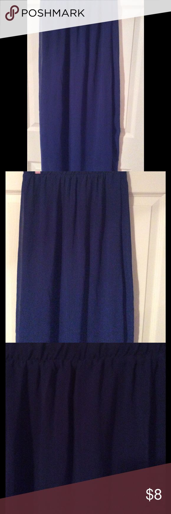 Dark blue maxi skirt This  blue maxi skirt is in great condition it has been worn once  it is a size small xxis Skirts Maxi