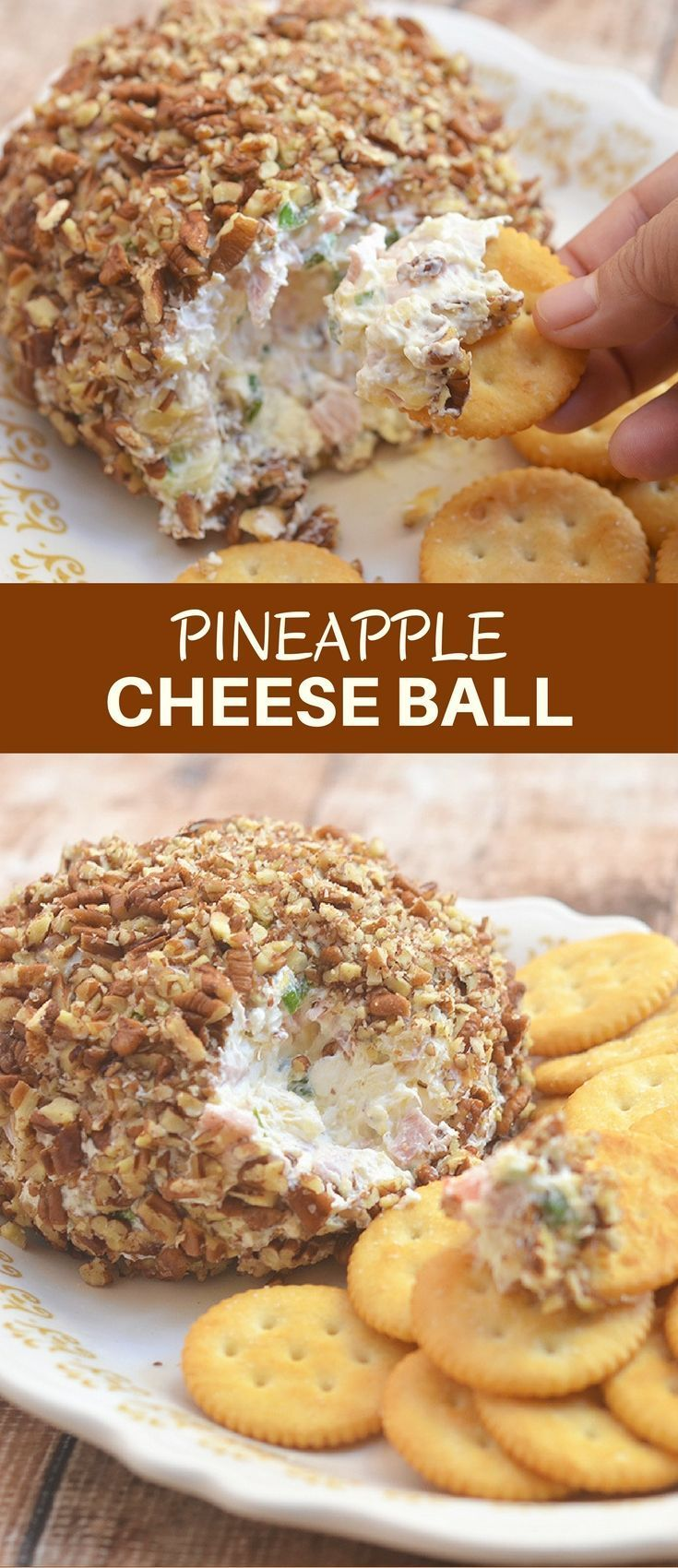 Pineapple Cheese Ball with cream cheese, chopped ham, crushed pineapple, red bell peppers, celery, green onions, and pecans is a delicious medley of sweet and savory flavors! A guaranteed hit at any holiday gathering!