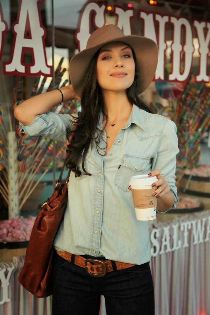 Denim on denim: Janessa Leone hat from Barney's Levi denim shirt from Urban Outfitters  Current Elliott denim Alexander McQueen tote
