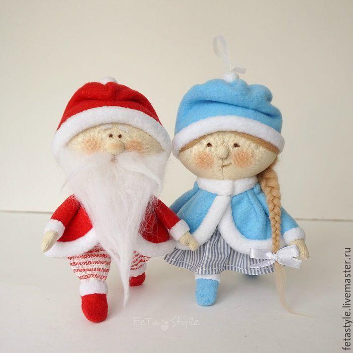 Купить Дед Мороз и Снегурочка Куклы-подвески Текстильные Игрушки на Елку - игрушки на елку