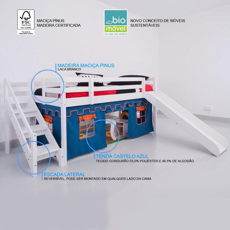 Cama com Escorregador Infantil c/ Escada de Fácil Acesso - Castelo Azul – Casatema - CasaTema