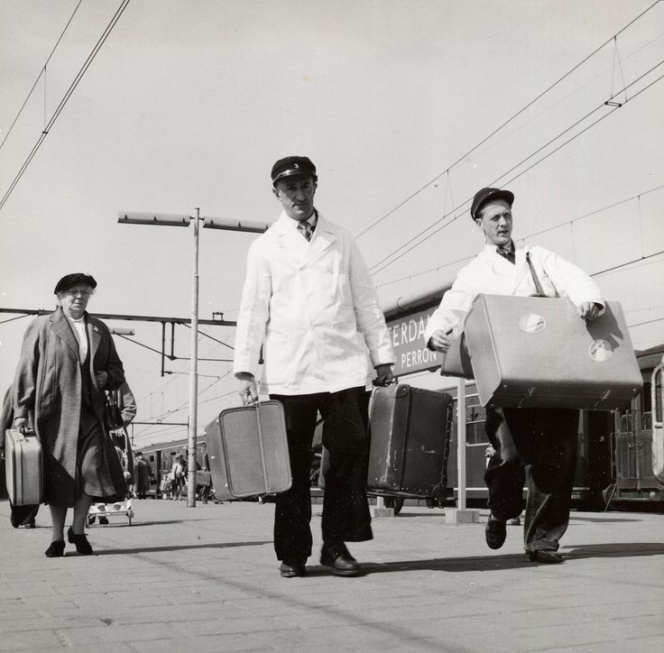 Kruiers, Rotterdam 1957, The Netherlands ,Traveling by train