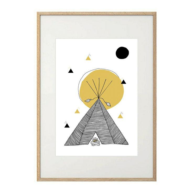 hand drawn geometric teepee wall print