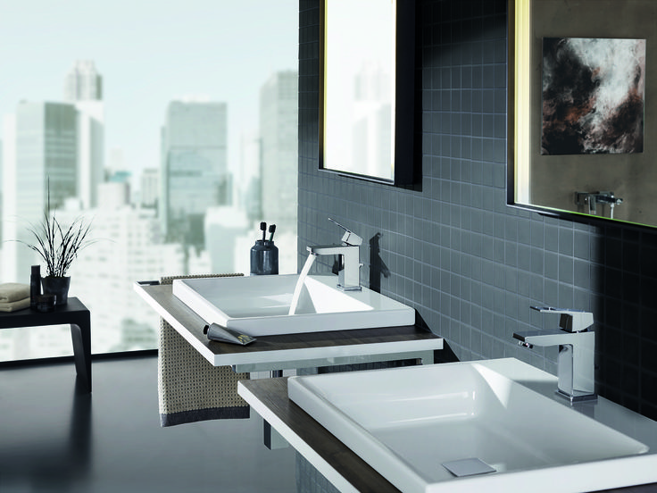 The true square Eurocube single-lever basin mixer is simplicity itself. In combination with similarly minimalist pieces it oozes cutting-edge, metropolitan cool. #basin #mixer #cube See more at http://www.grohe.co.uk/en_gb/bathroom-collection/mixer-taps-eurocube.html