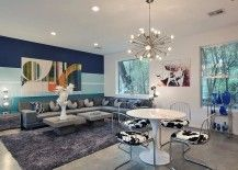 Bold and colorful living room accent wall 217x155 15 Fabulous Living Rooms with Striped Accent Walls