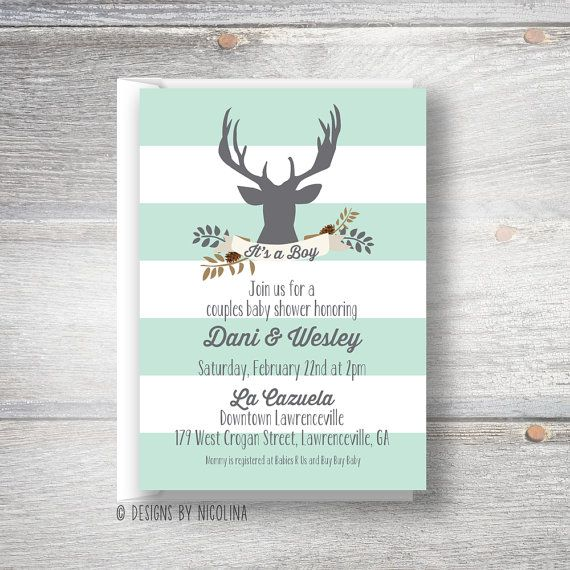 46 best baby buck baby shower images on pinterest | woodland baby, Baby shower invitations