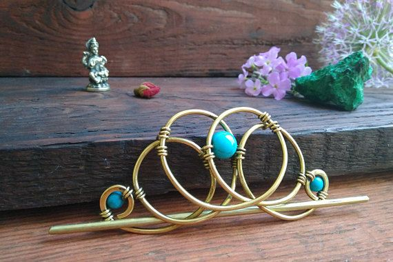 Metall Ponytail Holder with Turquoise Hair Slide Hair Pin