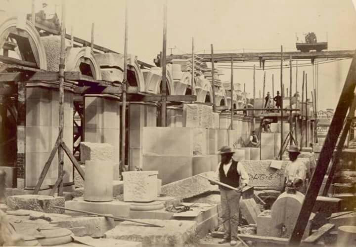 Melbourne Post Office being constructed around 1861.