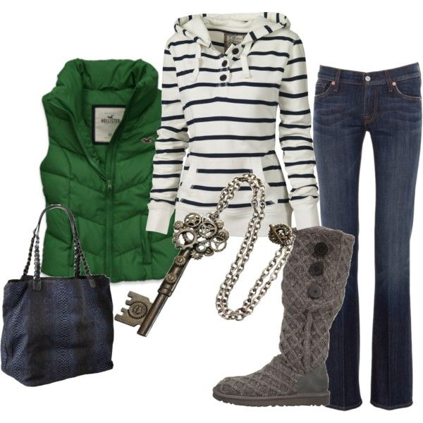 jeans, hoodie + boots=standard  green vest=standout: Fashion, Style, Green Vest, Clothing, Fall Wins, Fall Outfits, Winter Outfits, Casual Outfits, Boots