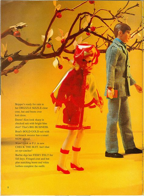 "Skipper wearing ""Drizzle Sizzle"" and Ken wearing ""Big Business, Barbie Talk Magazine, Oct. 1970"
