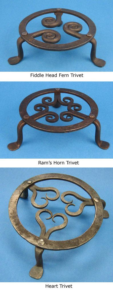 Hand Forged! Steel Trivets. Available from cjforge.net -- These would ...