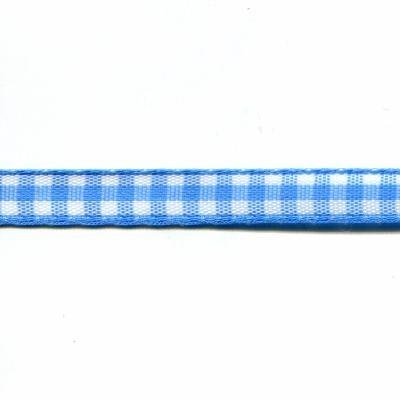 Ruban vichy bleu en polyester