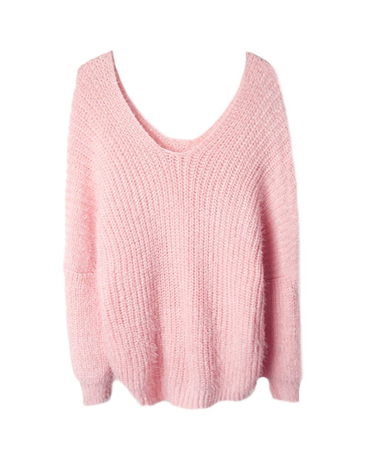 Fluffy V-neck Loose Mohair Knit Sweater | BlackFive
