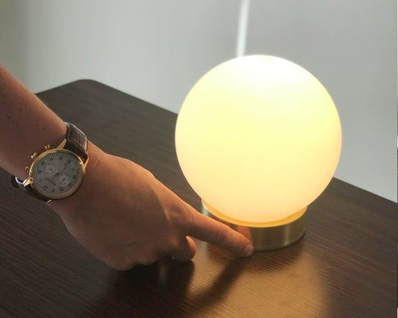 Modern Globe Table Lamp Touch Sensor Dimming Bedside Lamp Hand Blown Glass Orb Minimalist Home Decor Lighting Lamp Table Lamp Dimmable Table Lamp