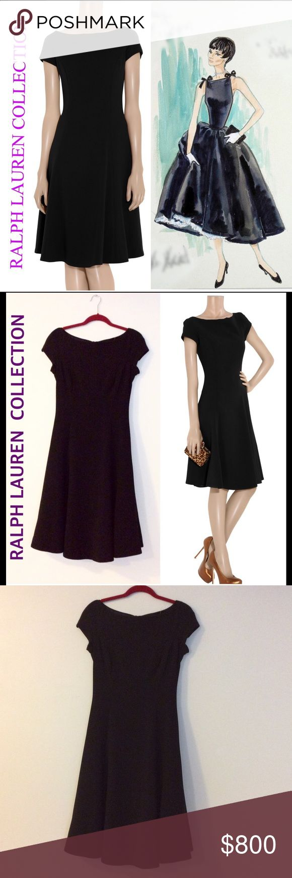 Ralph Lauren Collection LBD Channel Audrey Hepburn, in Sabrina, with this beautiful Ralph Lauren Collection black, stretch, wool blend crepe dress with flared skirt, boat neck, and cap sleeves. Composition:  96% wool, 4% elastane Lining: 95% silk, 5% elastane. Perfect cocktail LBD. Dry clean. Never worn; tag attached! Size 6. Wear with a skinny belt to accentuate your waist. Classic, elegant, sophisticated!! Ralph Lauren Purple Label Dresses