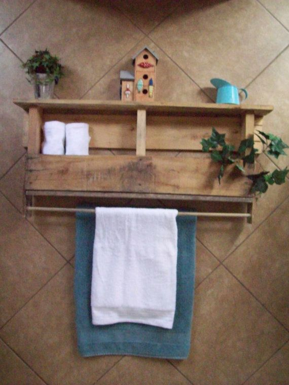Recycled Pallet Wood Wine Rack with Glass Holder/ Bathroom Shelf And Towel Rack