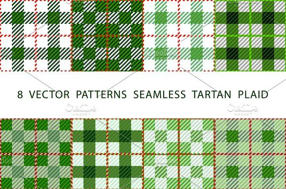 8 set seamless VECTOR TARTAN PLAID by Rommeo79 on @creativemarket
