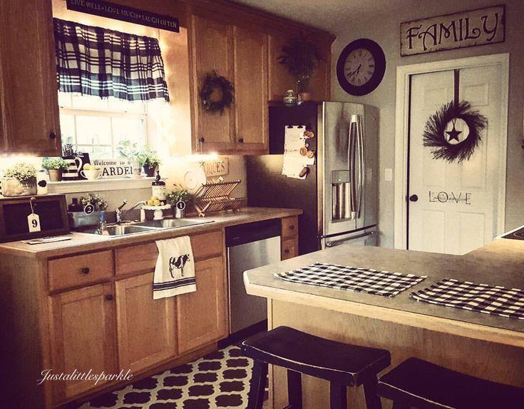 Realistic kitchen, oak kitchen cabinets, country style kitchen, farmhouse kitchen