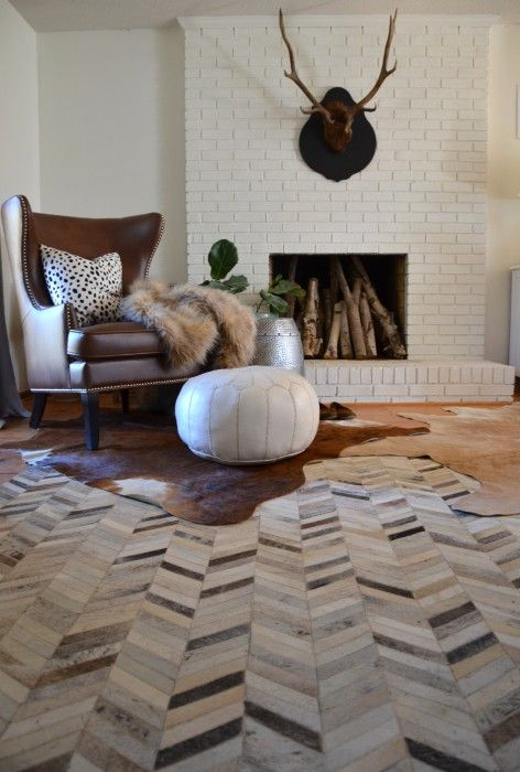 Layered Cowhides & Also Oysters - Nesting Place  ...thinking brown + white cowhide would be a nice pattern/texture to add!