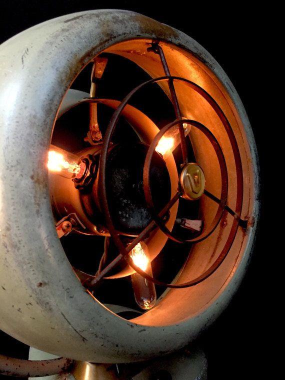 Ventilateur de table lampe Vintage recyclés par BenclifDesigns