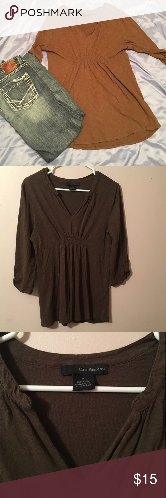 M Calvin Klein brown long sleeve top Medium/ brown/ long sleeve/ v-neck/ bunch accent on front/ button on sleeve Calvin Klein Jeans Tops Blouses