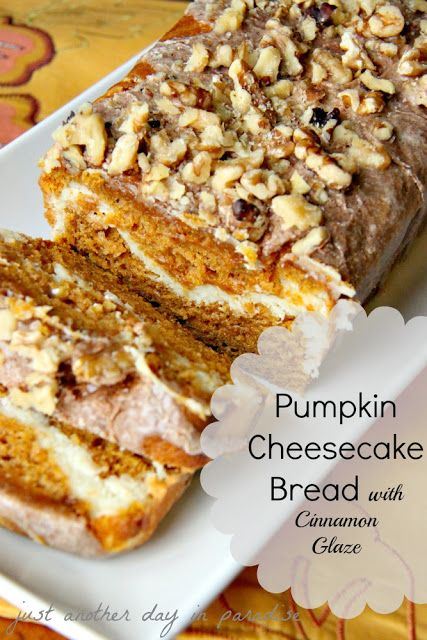 Pumpkin Cheesecake Bread with Cinnamon Glaze