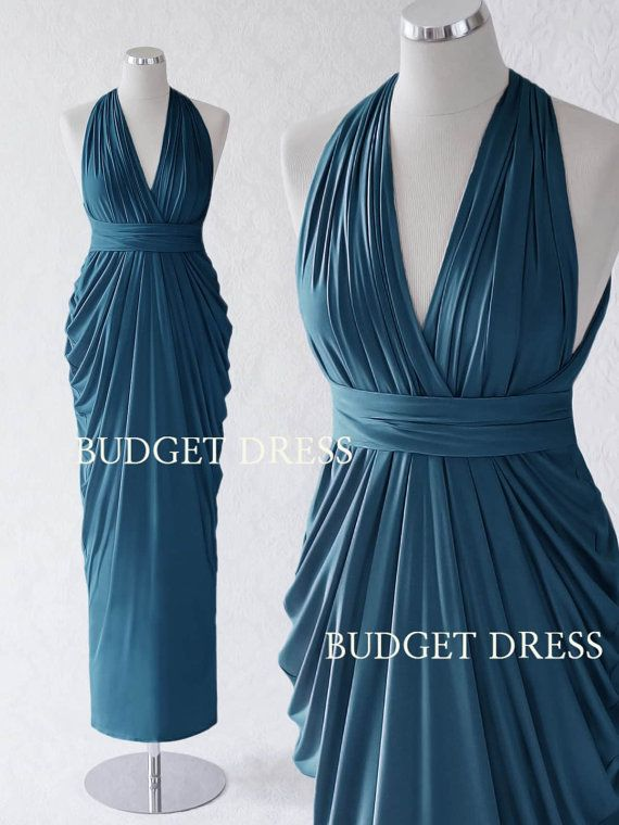 2017 NEW STYLE Ocean Blue Transformer Dresses, Infinity Long Bridesmaid Dress, Bridal Party Multiway Dress, Twist Wrap Teal Prom Dress