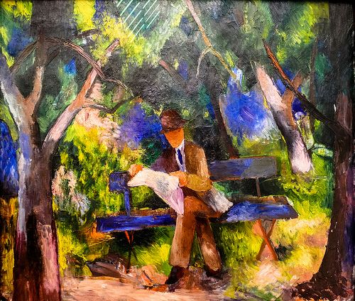August Macke - Man reading in the Park, 1914
