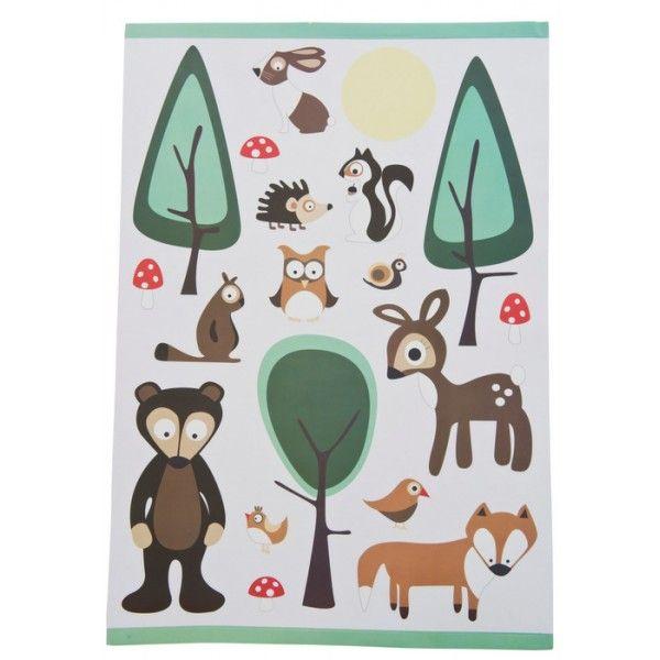 Carinissimo set di adesivi a muro con alberi funghi e i vari personaggi della foresta per decorare la cameretta. Compra online, consegna entro 48 h.