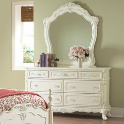 @Overstock - This kids' furniture set features Victorian styling with floral motif hardware, ecru painted finish and traditional carving details that create the feeling of a princess. This Fairytale Collection dresser and mirror set offers multiple drawers.http://www.overstock.com/Home-Garden/Fairytale-Collection-White-Dresser-and-Mirror/5980837/product.html?CID=214117 $743.99
