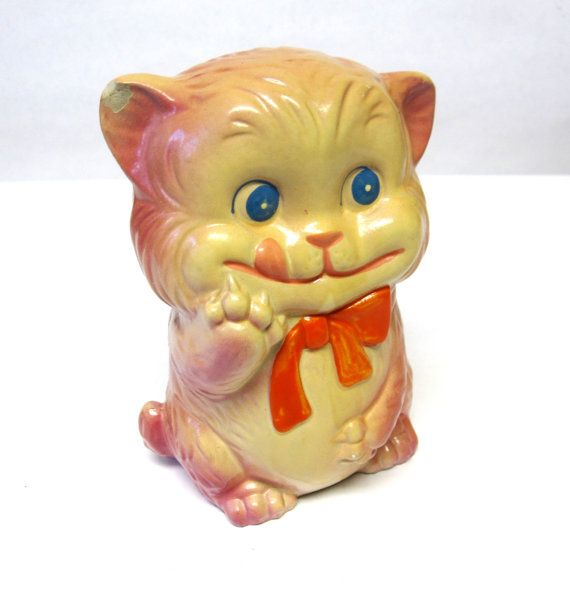 Chalkware Bank Kitty Cat Collectible Piggy Bank by sweetie2sweetie, $8.99