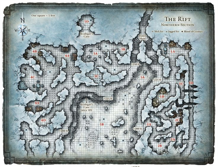 Dungeon #199 - Glacial Rift of the Frost Giant Jarl; Map 1 (Digital DM & Player Versions)