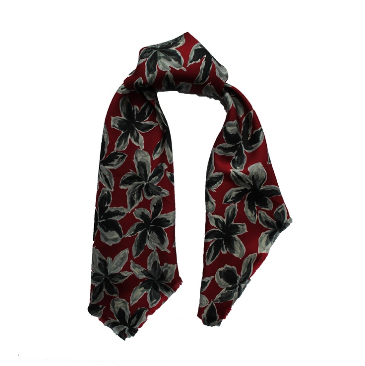 Floral Scarf by Uma Turan from Miratis.com. Floral pattern on pure silk. Hand finished edges.