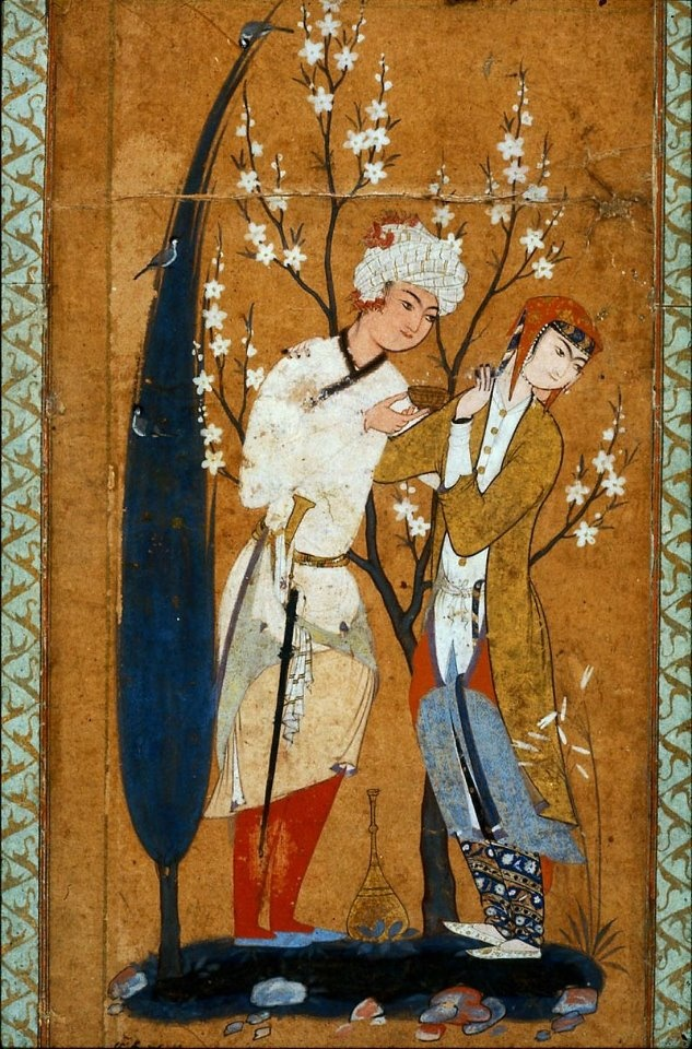 "Lovers in a Landscape  • Persian, Safavid Period, second half of 16th century  Mashhad or Qazvin, Iran  DIMENSIONS  W: 9 x L: 18 cm (3 9/16 x 7 1/16 in.)  MEDIUM OR TECHNIQUE  Opaque watercolor on paper  Hanging from the belt of this young lover is a tapered knife (""kard"") in a long sheath. Although employed as a weapon to pierce mail, the ""kard"" became a popular item of dress for both men and women, used as a utility knife to cut fruit or other mundane items."