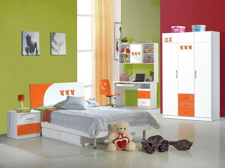 Kids Room: Youth Bedroom Furniture Sets With Green Walls Also White Orange  Wardrobe And Bed Also Side Table And Study Table And Swevel Chairs Decor  Ideas: ...