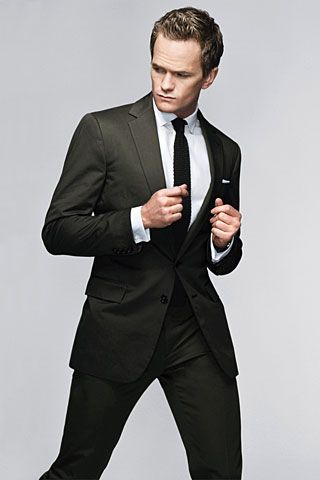 Break the tradition - Olive Suit    Suit, $1,895; shirt, $325; and tie, $95: all by Ralph Lauren Black Label. Pocket square and cuff links by Paul Stuart.