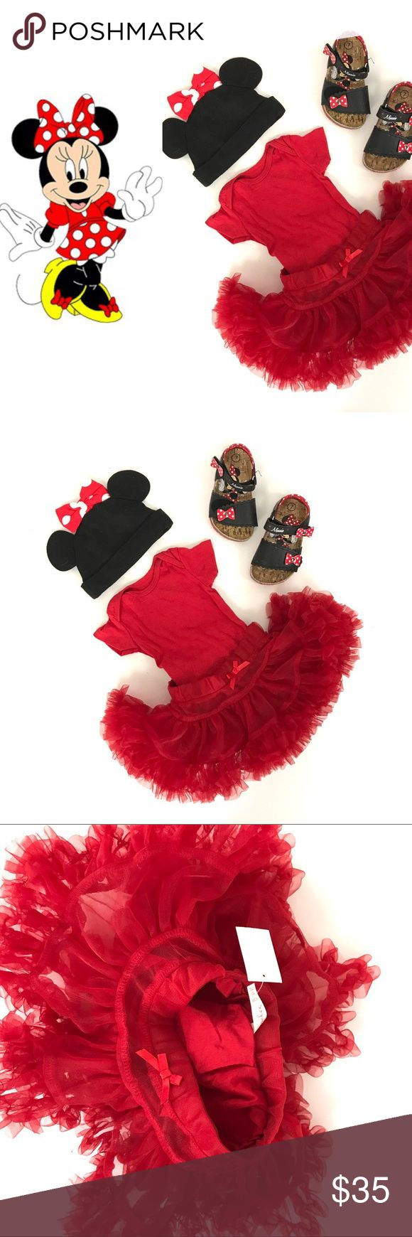 GIRL- Minnie Mouse Halloween costume COSTUME: Minnie Mouse SIZE: approx 3 months CONDITION: skirt-NWT hat Ears-NWOT onesie-gently used # OF PIECES 3 (Shoes sold separately) AVL COSTUME MATCHES? Yes adult Mickey and Minnie, and other child/baby Mickey and Minnie costumes Costumes Halloween