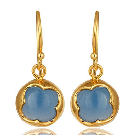 Blue Chalcedony Earrings, Silver Dangle Earrings, Gold Plated Jewelry, Gemstone Earrings, Party Earrings, Designer Earrings, Gift Jewelry