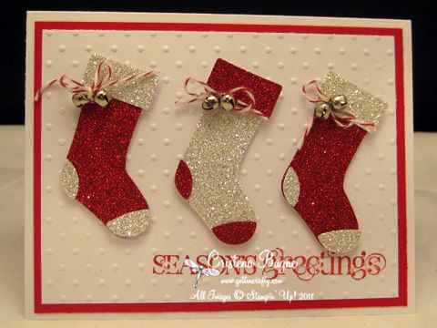 I have the stocking punch and the pretty glitter paper and the greeting to make this card love it