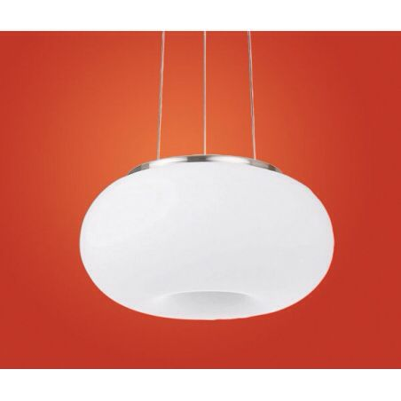 Eglo eglo 86813 optica 2 light modern ceiling light pendant opal and nickle matt finish small