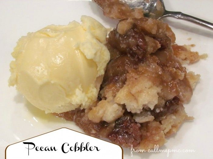 Pecan Cobbler - Sometimes the picture draws me in and sometimes it's the name.  The name drew me in this time, but the incredibly easy recipe made me go Wow!  I NEED to make this soon!!  You make it in 5 min right in the pan it bakes in!!