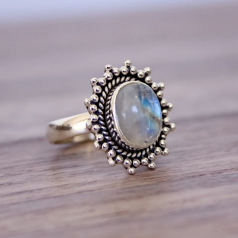 Moonstone Sun Ring | Bohemian Gypsy Jewelry | Boho Festival Jewellery | Hippie Style Fashion | Indie and Harper