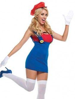 Om in de jaren 80 te blijven ;) Super MarioBros Red Plumber Women Costume