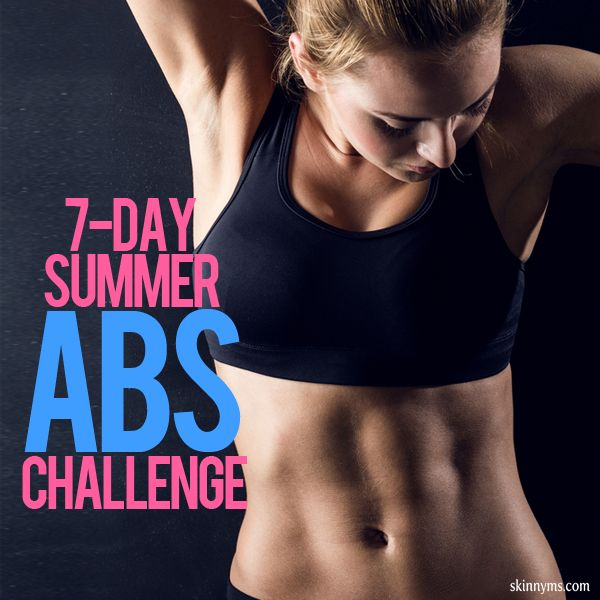 Get your rock hard abs with the Skinny Ms. 7 Day Summer Abs Challenge!  #challenge #summer #abs #flatbelly