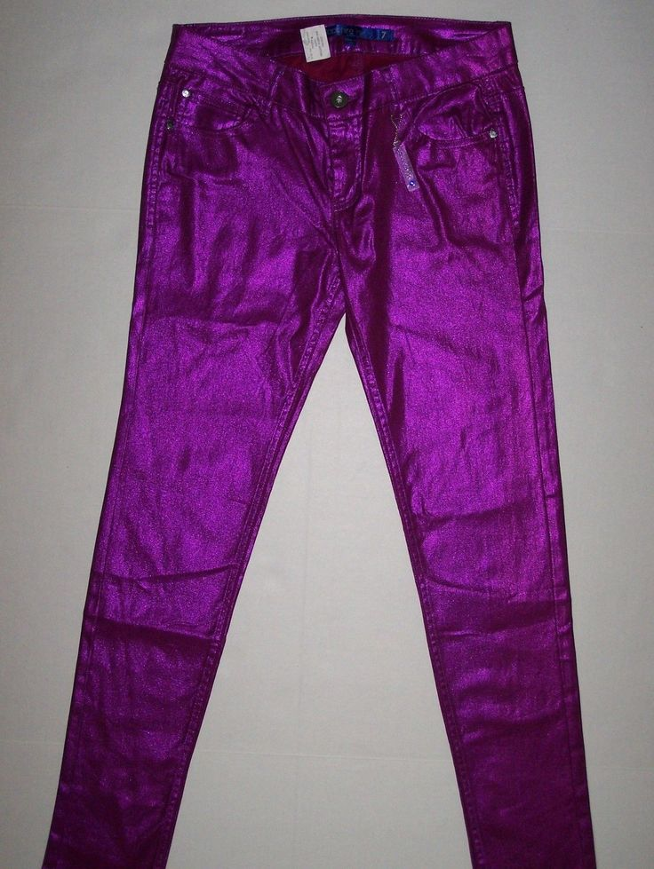 Nwt Juniors Sapphire Ink Metallic Neon Bright Shiny Purple Skinny Pants