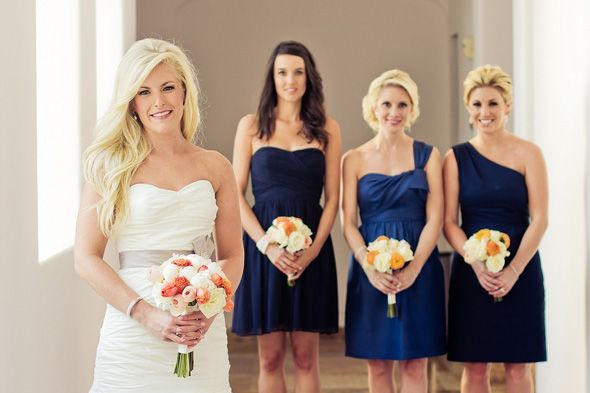 navy + peach. photo by sararichardsonphoto.com: Beautiful Brides, Photography Poses, Sararichardsonphoto Com, Blue Bridesmaid Dresses, Blue Bridesmaids
