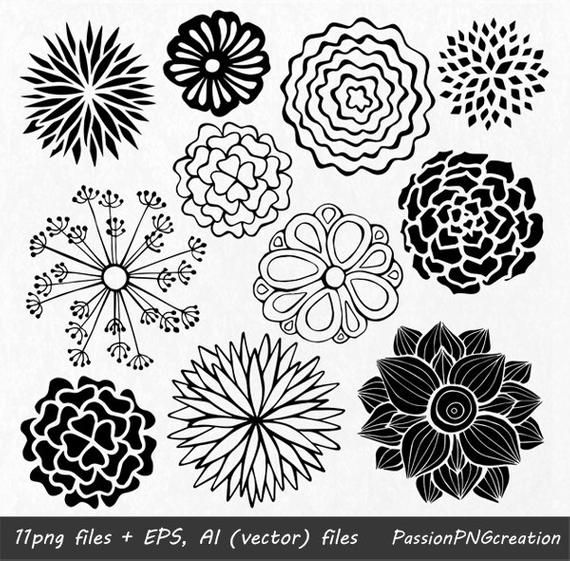 Hand Drawn Flowers Clipart Flower Element Flower Silhouettes Png Eps Ai Vector Flowers Clip Art For Personal And Commercial Use How To Draw Hands Hand Drawn Flowers Drawings